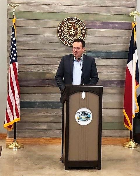 US Congressman Michael Cloud for the 27th District announces a $5 million grant from the Department of Commerce's Economic Development Administration.  The award will assist Rockport Center for the Ar